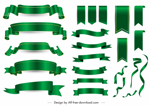 decorative ribbon templates shiny modern green blank 3d