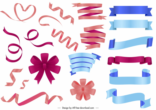 decorative ribbons knots templates modern shiny colored design