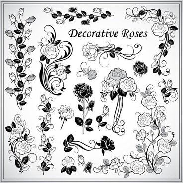 decorative rose pattern 02 vector