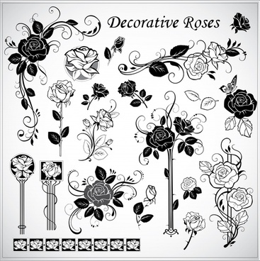 roses decor elements elegant black white vintage