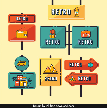 decorative signboard template flat retro symbols sketch