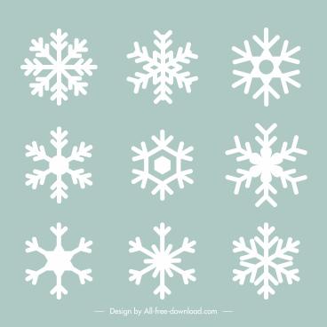 decorative snowflakes icons flat symmetrical shapes sketch