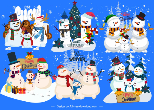decorative snowman icons colorful classic cute design