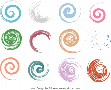 decorative spiral shapes elements colors strokes sketch