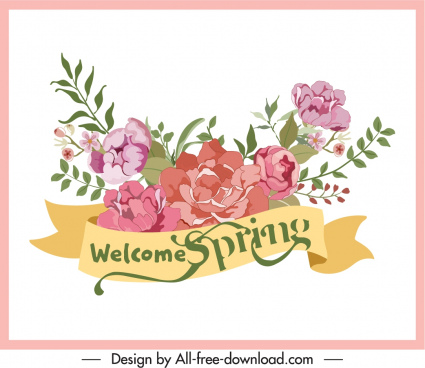 decorative spring background elegant floral ribbon sketch