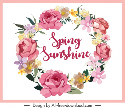 decorative spring background floral wreath sketch