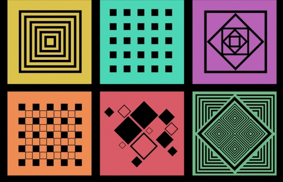 decorative squares background sets colorful flat isolation