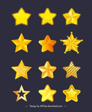 decorative stars icons modern shiny golden shapes