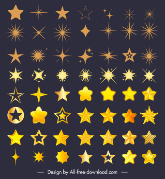 decorative stars icons sparkling modern classic shapes