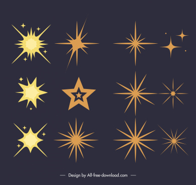 decorative stars icons sparkling sketch flat classic