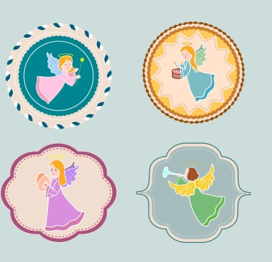 decorative sticker templates female angel icon flat shapes