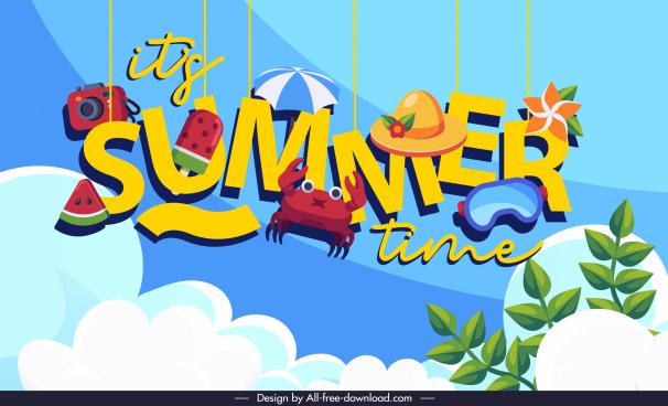 decorative summer time banner hanging texts symbols design