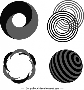 decorative swirled shaped templates black white twisted sketch