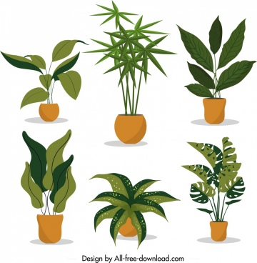 decorative tree pot icons green brown design
