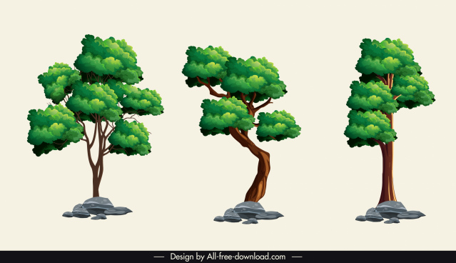 decorative trees icons colored classic sketch