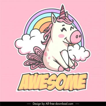decorative unicorn icon cute colorful handdrawn sketch