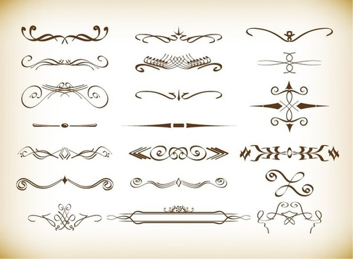 decorative vignette elements set in vintage style vector set