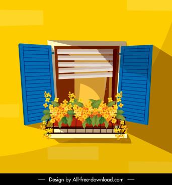 decorative window background colorful classic design