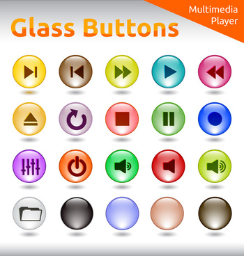 dedigital buttons design elements with round glass style