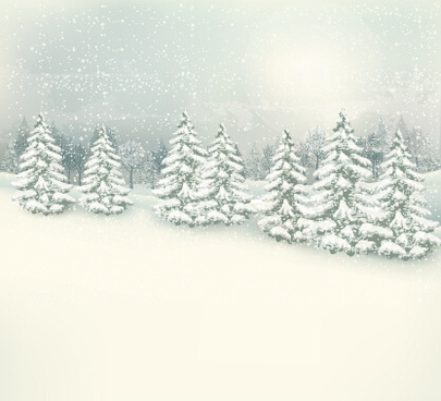 deep forest with snow vector background