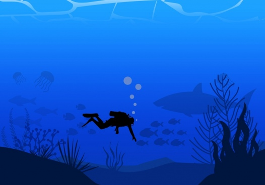 deep marine background diver icon dark blue decoration