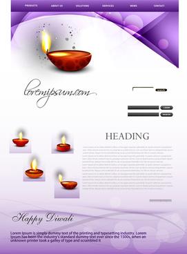 deepawali diwali diya bright colorful wave website template vector