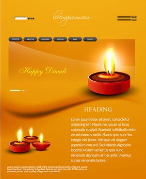 deepawali diwali diya website template presentation bright colorful vector design