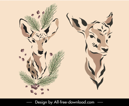 deer icons classic handdrawn sketch