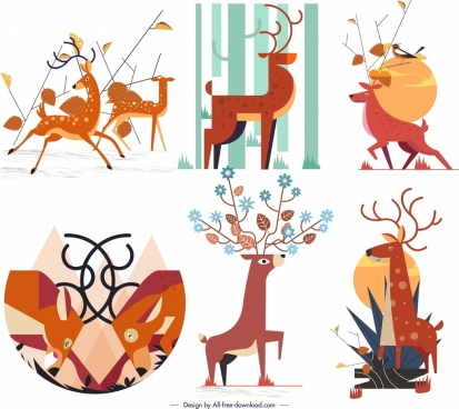 deer icons collection classical orange decor