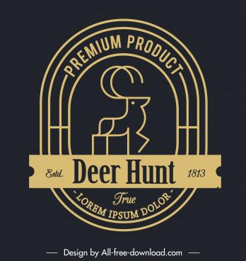 deer logo template dark flat handdrawn design