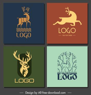 deer logotypes handdrawn sketch flat 3d design