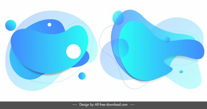 deformed decorative elements templates modern flat blue design