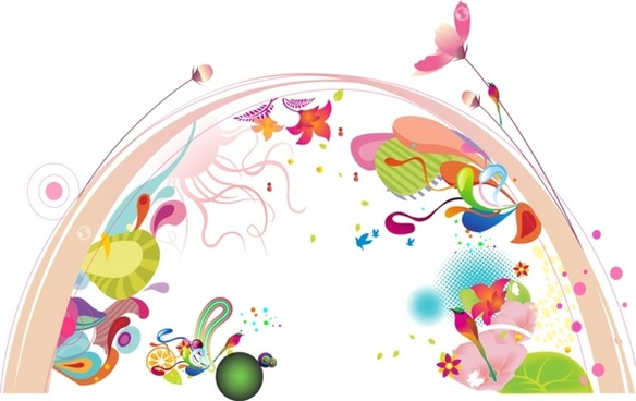 colorful flowers background arch curves and symbols decoration