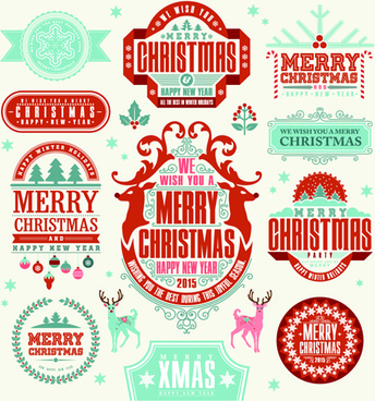 delicate15 christmas labels ornaments vector