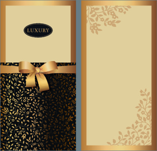delicate bow invitation cards design vector