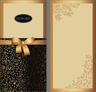 delicate bow invitation cards design vector
