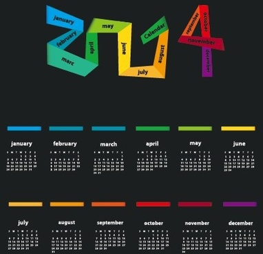 delicate calendar14 year design vector