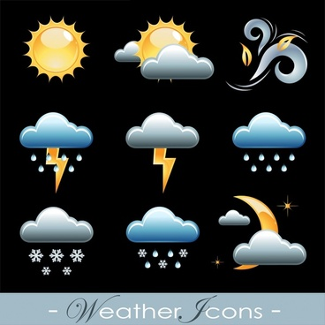 delicate clouds sun rain weather icons vector