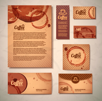 delicate coffee cards design vector