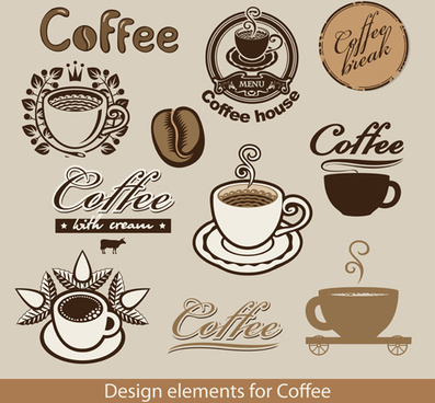 delicate coffee logos vector