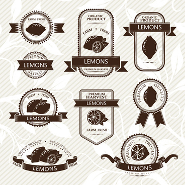 delicate fruits labels vector set