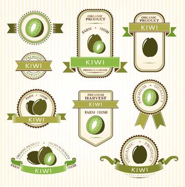 delicate fruits labels vector set