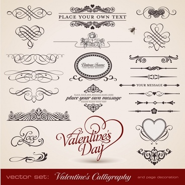 valentines card decorative elements vintage symmetric curves shapes
