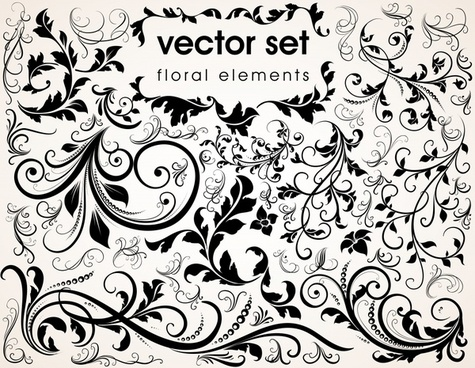 flower pattern template classical black white curved sketch