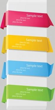 delicate origami label 02 vector