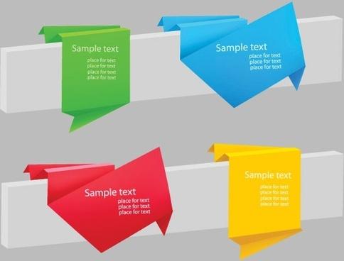delicate origami label 03 vector