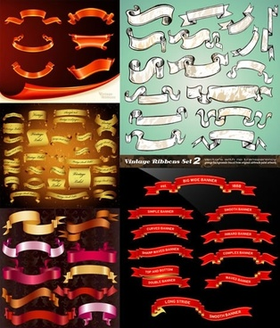 ribbons templates collection modern colored 3d dynamic shapes