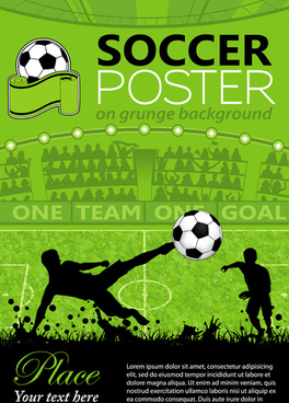 Delicate Soccer Poster Background Vector Graphics