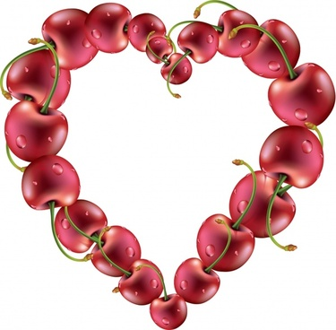delicious apple cherry fruit heart shape vector