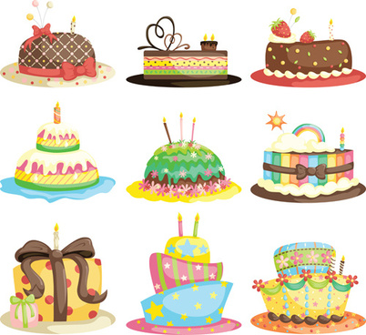 delicious birthday cake creative vector